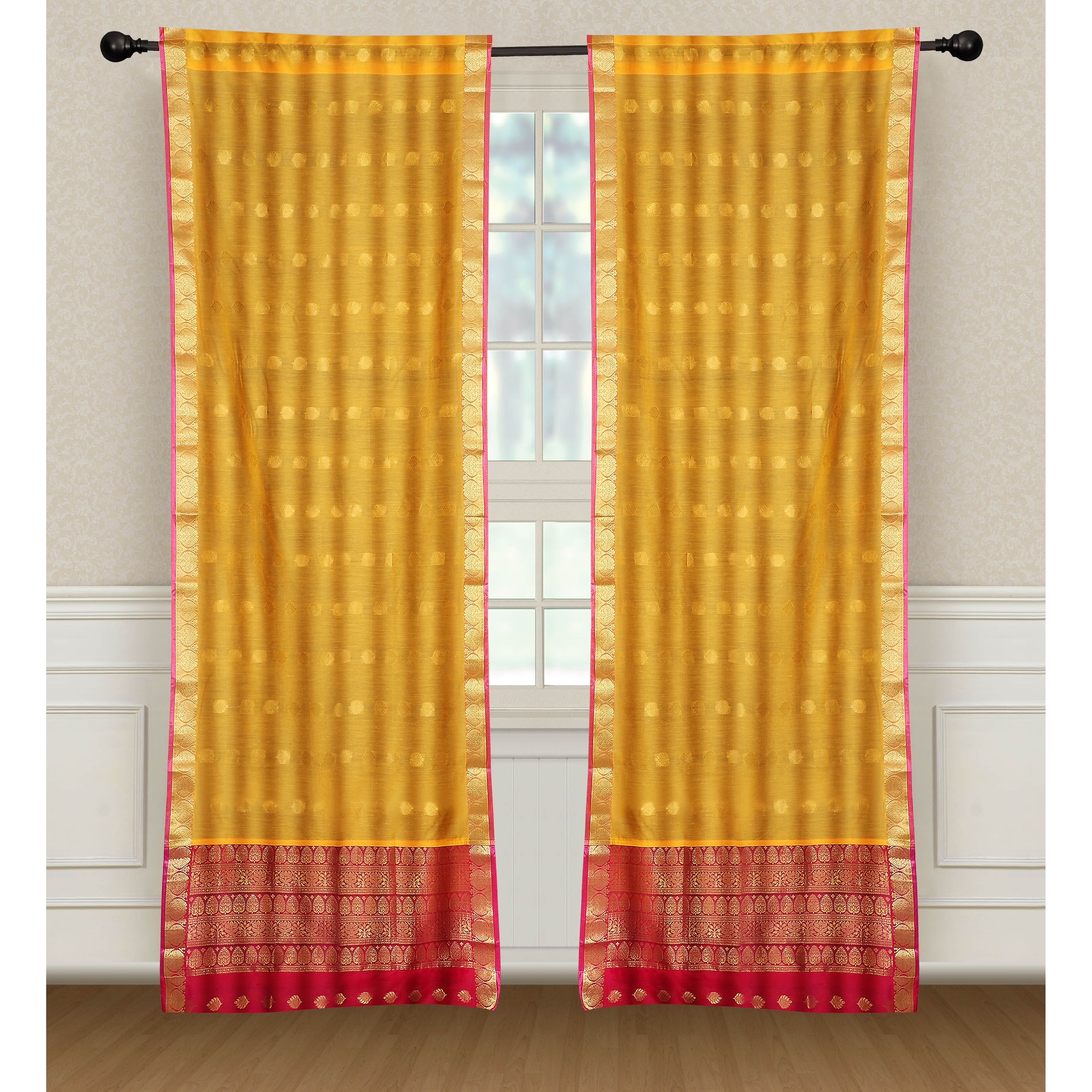 The Curated Nomad Valmar Yellow Indian Sari Window Curtain Panel Pair