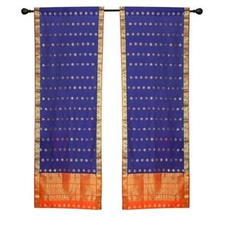 2 Blue Bohemian Indian Sari Curtains Rod Pocket Living Room  Window Treatment
