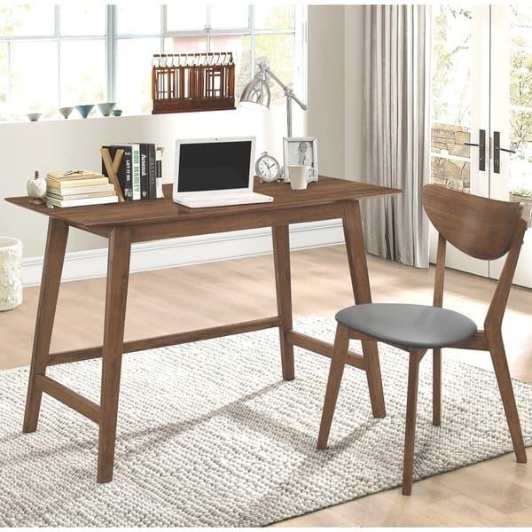 Mid Century Modern Design Home Office Walnut Desk And Chair Set