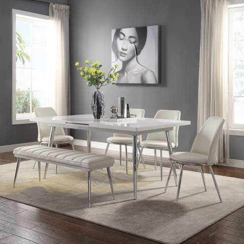 ACME Weizor Dining Table in White High Gloss & Chrome