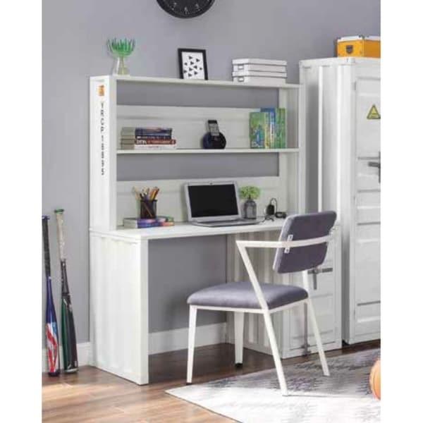 ACME Cargo Desk & Hutch in White