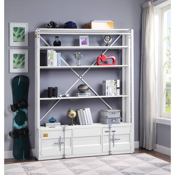 ACME Cargo Bookshelf & Ladder (TV Stand) in White