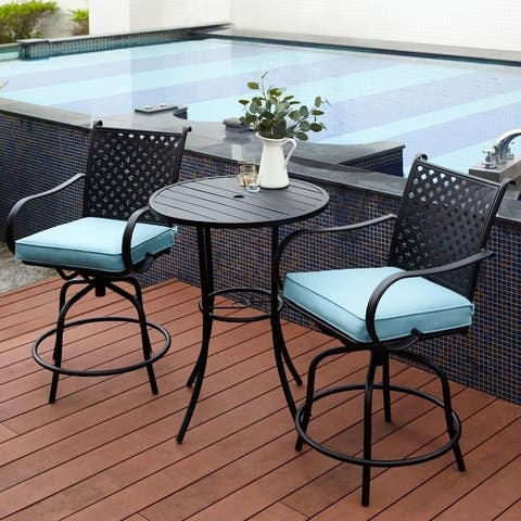 Jepen Swivel Bar Height Patio Bistro Set with Cushions by Havenside Home