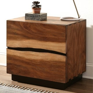 Natural Live Edge Design with Two-Tone Exotic Wood Grain Nightstand