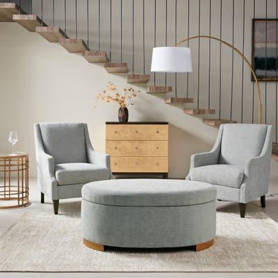 Martha Stewart Adina Grey Storage Ottoman