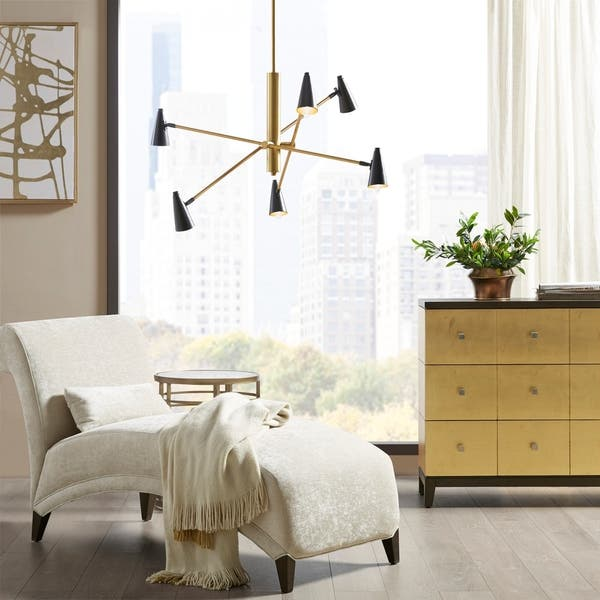 Shop Martha Stewart Barrow 6-Light Gold/Black Chandelier ...