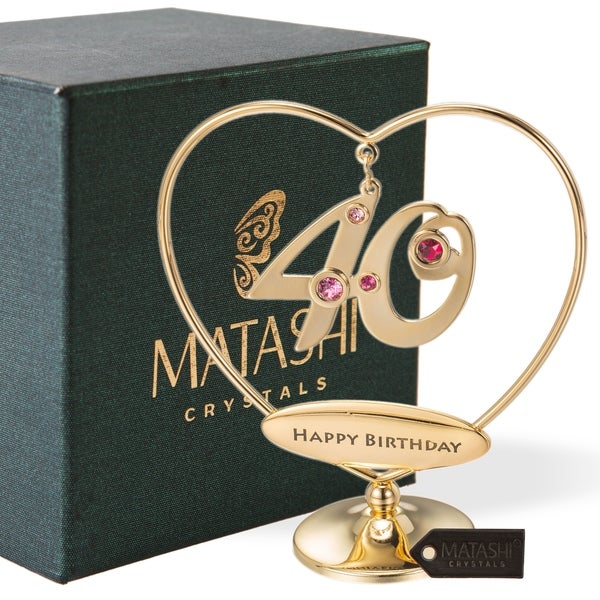 "24K Gold Plated Beautiful 40th ""Happy Birthday"" Heart Table Top Ornament Made with Genuine Matashi Crystals"