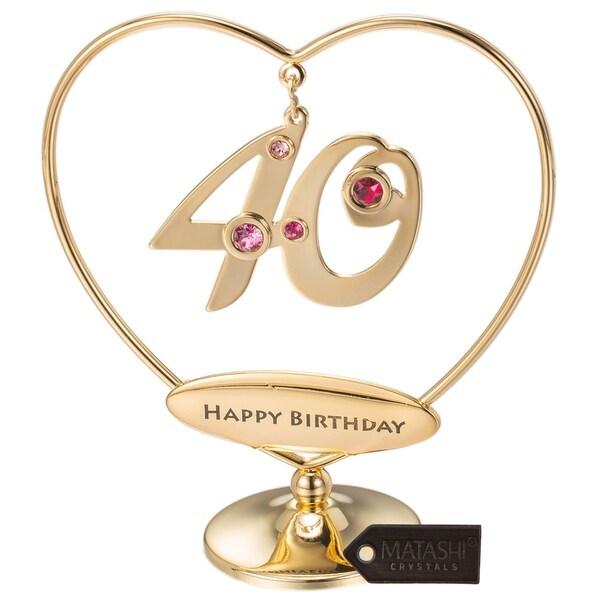 24k Gold Plated Happy Anniversary Heart Ornament Made w//Genuine Matashi Crystals