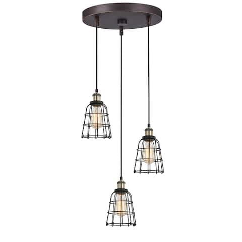 Woodbridge Lighting 18324ABZWL-SW106BK Fulton Multi-light Wire Cage Cluster Pendant w/ ST64 Bulb