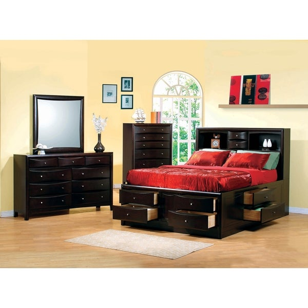 Entrepreneur Cappuccino 2-piece Storage Bedroom Set with Nightstand