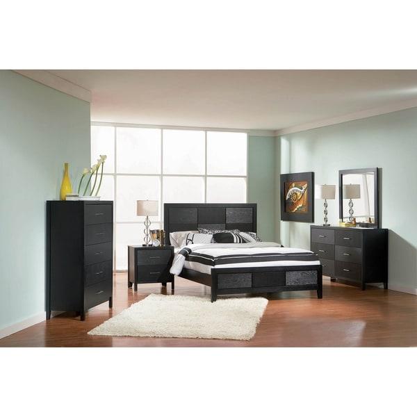Jarvis Black 3-piece Panel Bedroom Set with 2 Nightstands