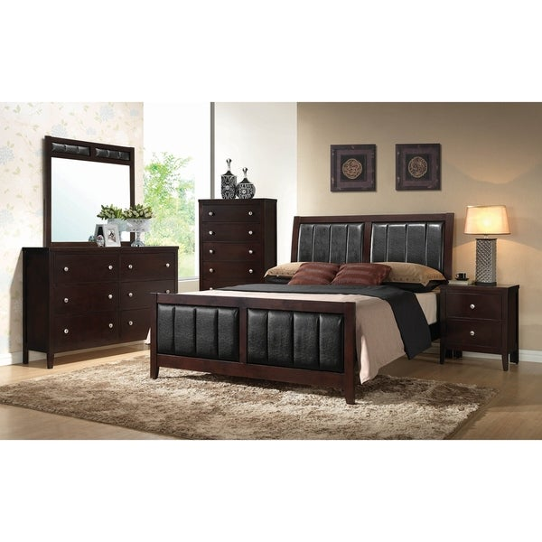 Victor Cappuccino 3-piece Upholstered Bedroom Set with 2 Nightstands