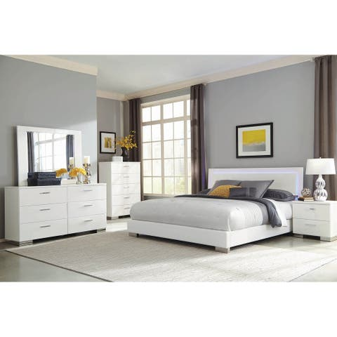August Glossy White 2-piece Upholstered Bedroom Set with Nightstand