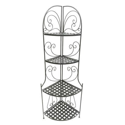 Foldable Metal Corner Bakers Rack with Grid Pattern Shelves, Black