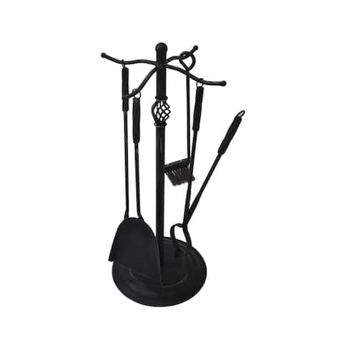 "Brookshire Iron Fireplace Tool Set by Christopher Knight Home - 13.50"" W x 13.50"" L x 29.00"" H"