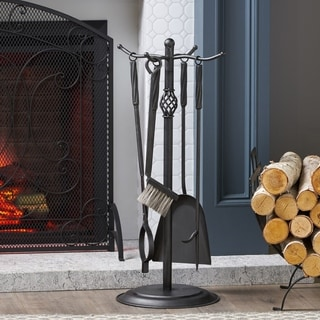 """Brookshire Iron Fireplace Tool Set by Christopher Knight Home - 13.50"""" W x 13.50"""" L x 29.00"""" H"""