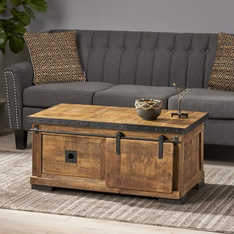 Bayard Modern Industrial Handcrafted Mango Wood Coffee Table by Christopher Knight Home