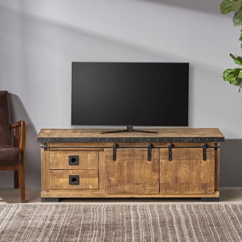 Bowery Modern Industrial Mango Wood TV Stand by Christopher Knight Home