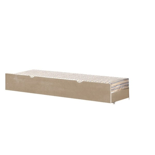 Transitional Style Twin Size Wooden Trundle with Cutout Handle, Brown