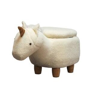 Unicorn Shape Wooden Storage Ottoman with Fabric Upholstery, Cream