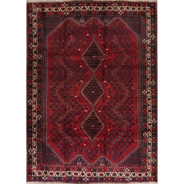 """Shiraz Oriental Tribal Traditional Hand Knotted Wool Persian Area Rug - 9'4"""" x 6'9"""""""