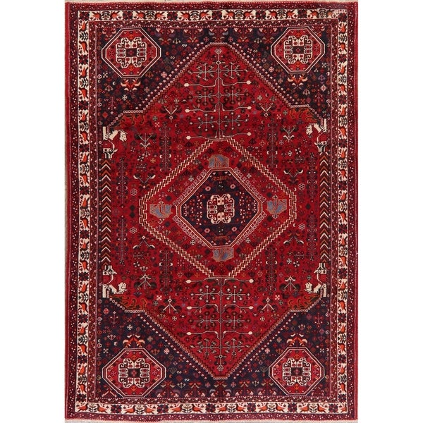 "Shiraz Traditional Oriental Tribal Hand Knotted Wool Persian Area Rug - 9'8"" x 6'10"""