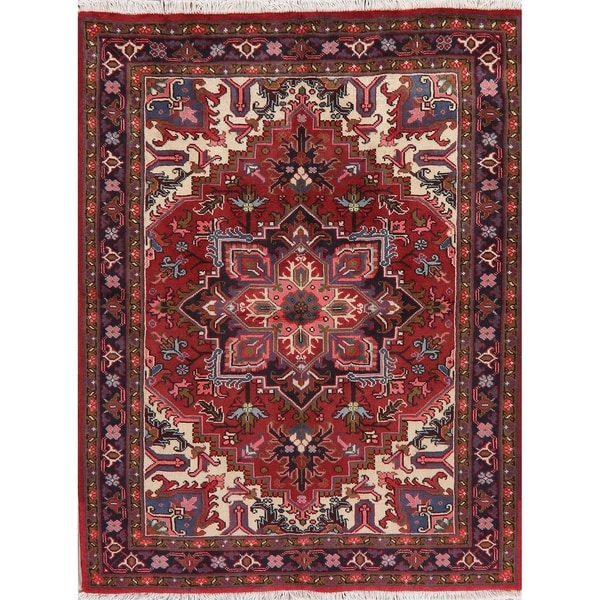 """Heriz Oriental Traditional Hand Knotted Wool Persian Area Rug - 6'5"""" x 4'11"""""""