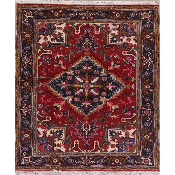 "Heriz Traditional Oriental Hand Knotted Wool Persian Area Rug - 6'6"" x 5'0"""