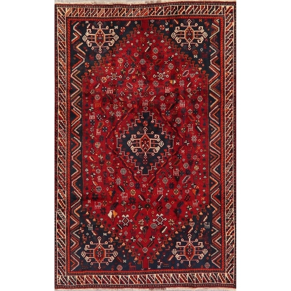 "Traditional Shiraz Oriental Hand Knotted Wool Persian Area Rug - 8'6"" x 5'4"""