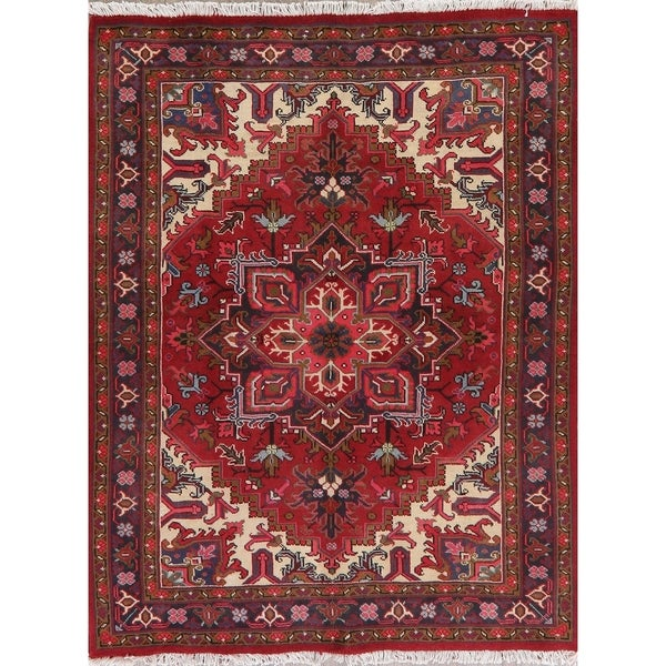 """Heriz Oriental Hand Knotted Traditional Wool Persian Area Rug - 6'8"""" x 5'1"""""""