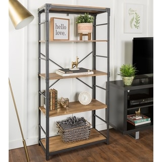 "Office Accents 64"" Tall Angle Iron Urban Industrial Bookshelf - Barnwood"