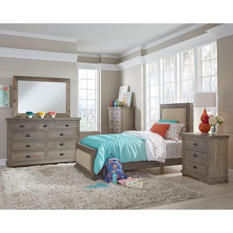 Willow Weathered Gray Complete Upholstered Bed