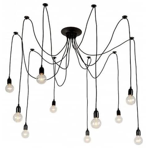 Black Industrial Edison Spider Chandelier Pendant Lights, Adjustable