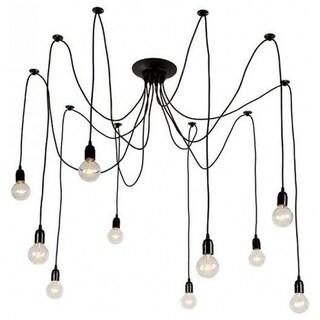 Black Industrial Edison Spider Chandelier Pendant Lights, Adjustable