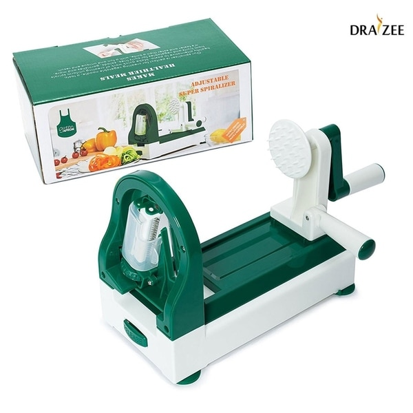 Draizee Strongest And Heaviest Duty Vegetable Spiral Slicer 4 Blade Spiralizer Vegetable Slicer Overstock 28698611