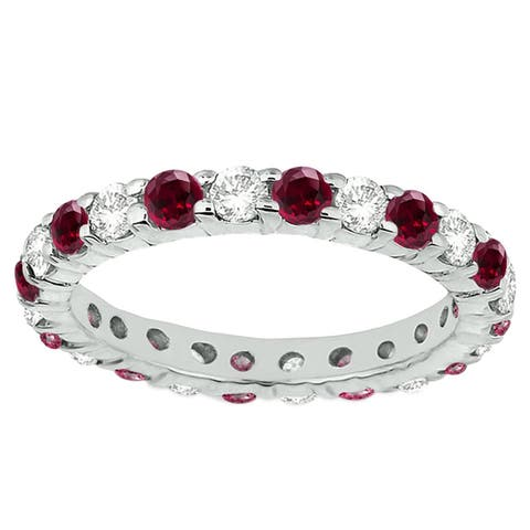 Sterling silver with Ruby and Natural White Topaz Eternity Band Ring