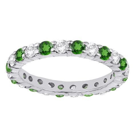 Sterling silver with Green Emerald and Natural White Topaz Eternity Band Ring