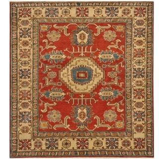 Handmade One-of-a-Kind Kazak Wool Rug (Afghanistan) - 6' x 6'7