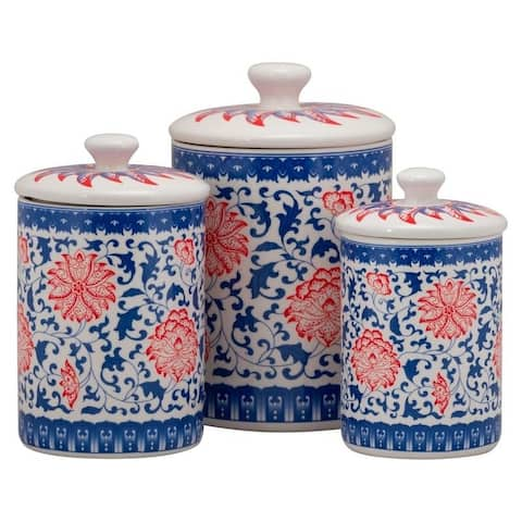 10 Strawberry Street Chinoiserie 3 Piece Canister Set, Red/Blue