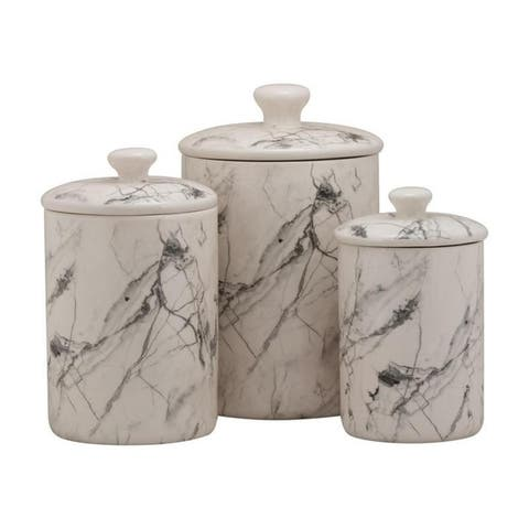 10 Strawberry Street Marble 3 Piece Canister Set, White/Black