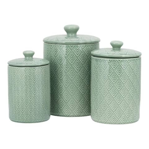 10 Strawberry Street Marquis 3 Piece Canister Set, Blue