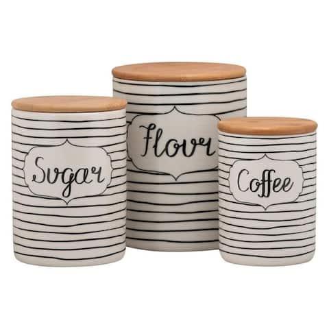 10 Strawberry Street Everyday Coffee, Sugar, Flour 3 Piece Canister Set, White/Black
