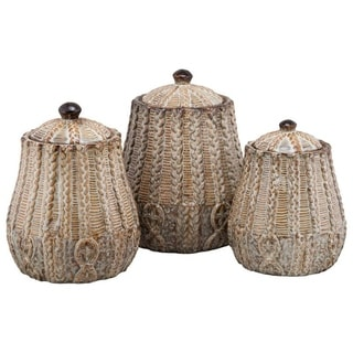 10 Strawberry Street Braided 3 Piece Canister Set, Rust