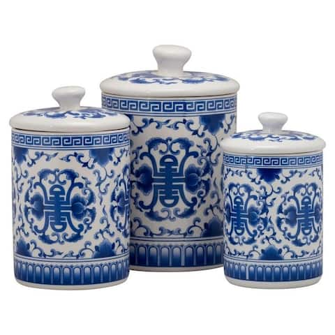 10 Strawberry Street Chinoiserie 3 Piece Canister Set, White/Blue