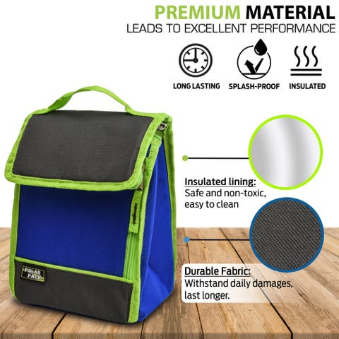 POLAR PACK Insulated Cooler Lunch Bag with Side Zipper Pocket Carry Handle Indoor Outdoor Travel Bag for School & Work & Camp