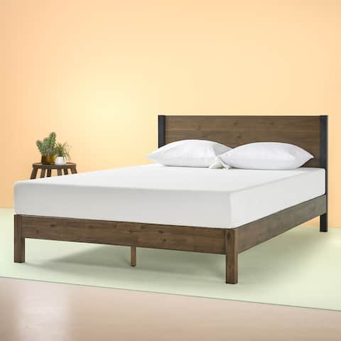 Priage by Zinus 12 Inch Wood Platform Bed with Headboard
