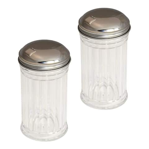 Set of 2 Clear Glass Sugar Shakers Dispensers with Stainless Steel Side Flip Pouring Cap