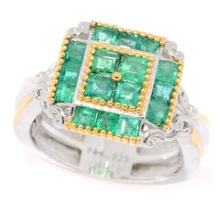 Michael Valitutti Palladium Silver Zambian Emerald Square Shaped Cluster Ring