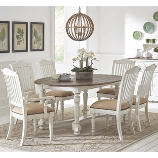 Rustic Farmhouse Design Weathered Two Tone Oval Dining Set