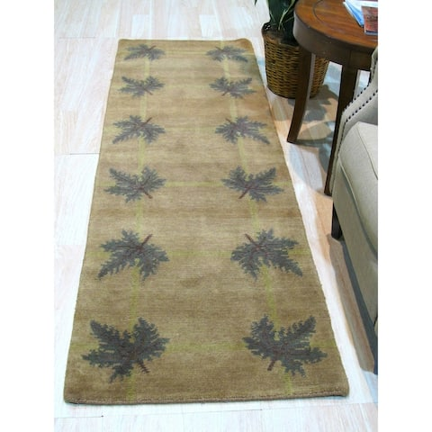 Brown/green Hand-knotted Wool Traditional Palms Rug - 2' 6 x 7' 7